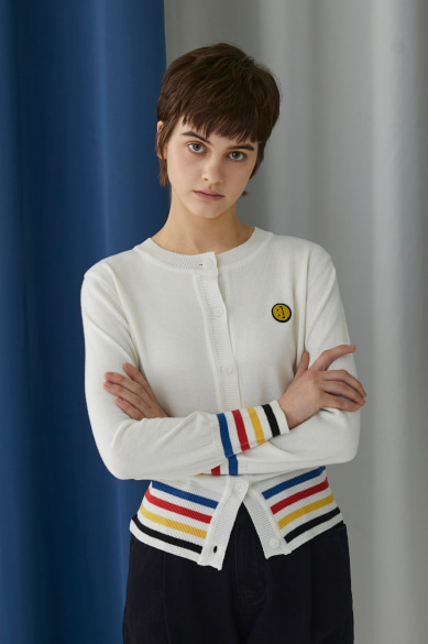SM:]E PATCH FEMALE CARDIGAN OFF WHITE