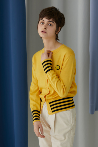 SM:]E PATCH FEMALE CARDIGAN YELLOW