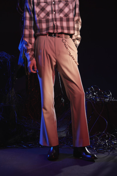 CHAIN FLARE PANTS BEIGE